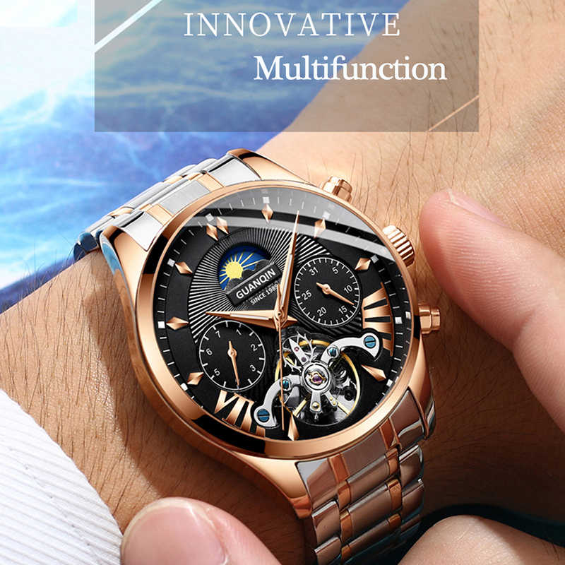 GUANQIN 自動/機械式/高級時計リロイ hombre 男性時計メンズ/メンズ腕時計 2019 トップブランドラグジュアリートゥールビヨン