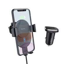 Cargador inalámbrico Qi HOCO 10W para coche, carga rápida para iPhone 11 X XS, soporte para teléfono para coche, soporte para ventilación de aire para Samsung Xiaomi