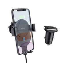 Hoco carregador sem fio para carro 10w, carregador wireless para iphone 11 x xs max, ventilação para suporte de telefone do carro suporte de montagem para samsung xiaomi