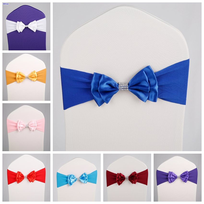 17 Colours Satin Chair Sash Spandex Chair Sash Lycra Bow Tie Ready Made Fit All Chairs Wedding Banquet Hotel Party Decoration