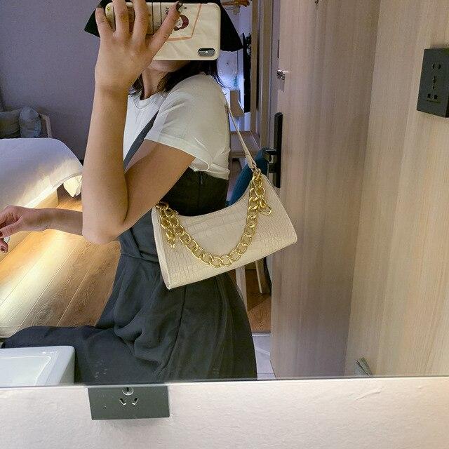 Fashion All-match Women's Shoulder Bag Crocodile Pattern Underarm Bag Temperament Chain Handbag Trend Zipper Bags for Women 2021 3