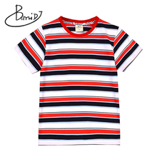 New BEMIDJ Boys summer T-shirt Short sleeve t shirt O-Neck Striped Children Tops clothing Tees Kids Cotton clothes Boys T-shirt цена и фото
