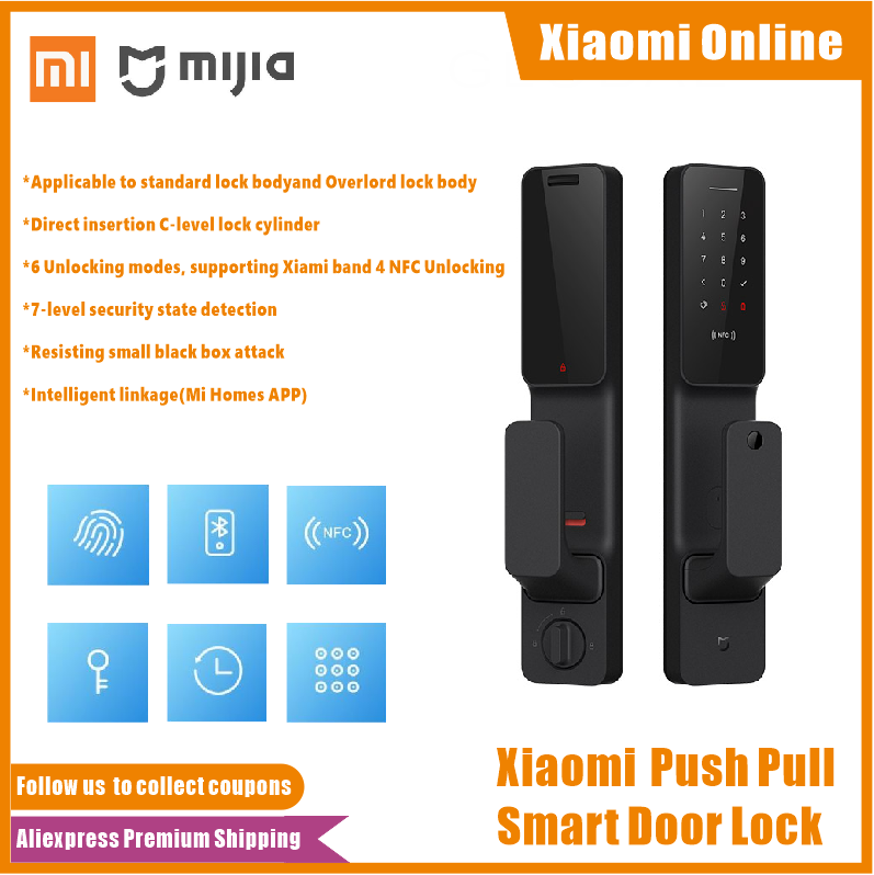 Xiaomi Mijia Push Pull Smart Door Lock Fingerprint Passpord Bluetooth NFC Unlock APP Control Intelligent Linkage Ai Smart Home(China)