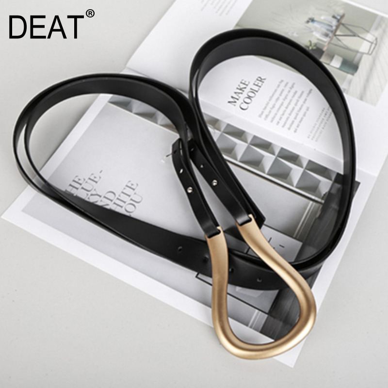 DEAT 2020 New Spring Solid Color Double-layer Metal Arc Buckle Long Belt Women Fashion Temperament Wild Belt Tide PD286