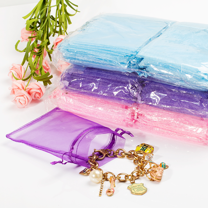 50 Pcs/lot 19 Colors 10x15cm Wedding Christmas Gift White Drawable Organza Bags Jewelry Packaging Display & Pouches 5Z