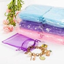 50 unids/lote 19 colores 10x15cm de Navidad de la boda de regalo blanco dibujable Organza bolsas joyería embalaje pantalla y bolsas