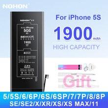 Nohon Batterij Voor Iphone 5 5s 6 6S 7 8 Iphone 7Plus 8Plus 6Plus Hoge Capaciteit bateria Voor Iphoe X Xs Max Xr Se 5