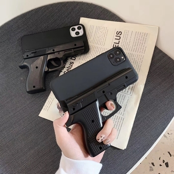 Luxury 3D Gun Phone Case for iphone 11 Pro Max X XS Max XR 7 8 plus Soft Silicone Toy Phone Back Cover