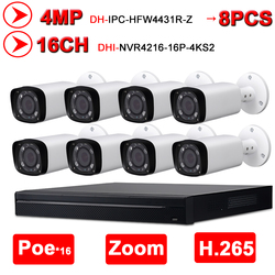 Dahua 4MP 16 + 8 zestaw kamery przemysłowej bezpieczeństwa oryginalny NVR4216-16P-4KS2 NVR 16POE 4K i 8 sztuk OEM kamera IP Zoom IPC-HFW4431R-Z zestaw monitoringu NVR