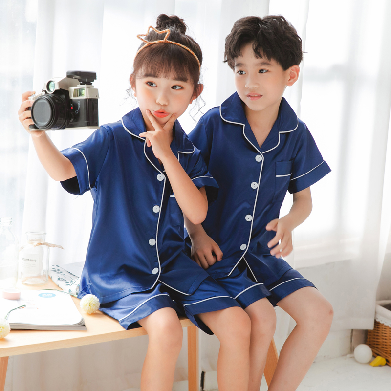 Kid Boys Girls Summer Silk Tracksuit Pajamas Nightwear Sleepwear Pyjama Set 2pcs