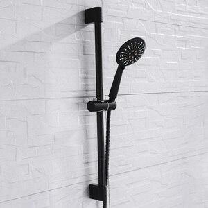 Image 3 - 벽 마운트 블랙 코팅 샤워 세트 손 샤워 스테인레스 스틸 호스 조절 슬라이딩 바