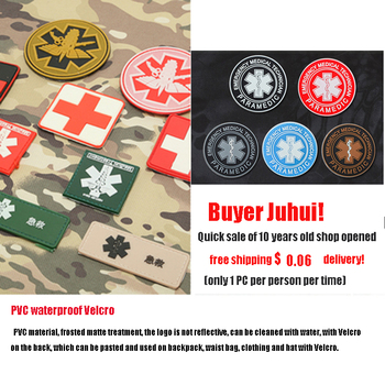 PVC tactical Velcro armband Logo Red Cross medical rescue badge personality morale badge TAD Backpack