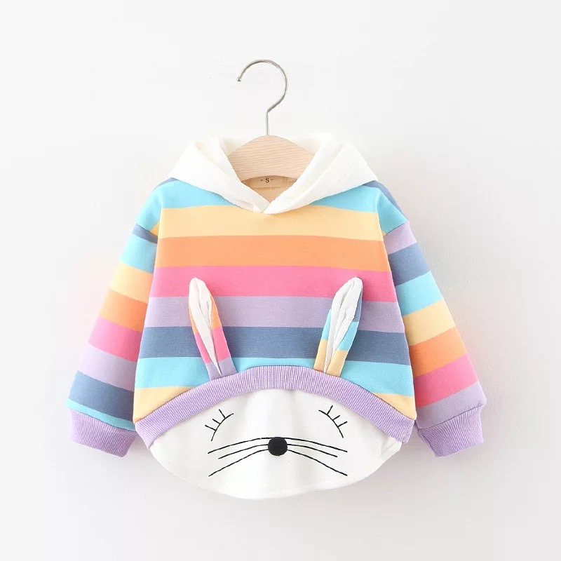 Baby Girls Clothes Autumn Winter Plus Velvet Thicken Warm Tops Cotton Hooded Sweatshirt Kids Casual Sportswear Toddler Clothing