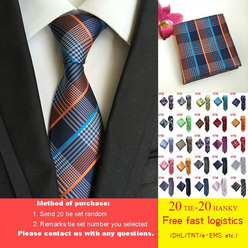 Оптовая продажа DHL/TNT Бесплатная доставка 20 шт./лот 125 стилей галстук набор 8 см галстук Карманный квадратный набор 100% шелк бизнес галстук
