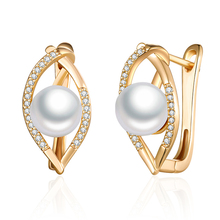 Geometric Gold  Stud Earrings with Pearl Cubic Zirconia Gem Stone CZ Pearl Earrings for Women Party Jewelry Fashion Gifts pair of graceful faux gem rivet geometric earrings for women