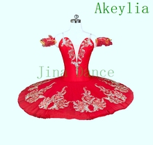 цена на Red Flower Fairy Romance La Esmeralda Professional Ballet Tutu Costume Girls Kids Ballerina Sugar Plum Fairy Pancake tutu