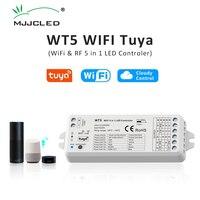 Tuya LED Controller 5 in 1 Dimmer CCT RGB RGBW RGBWW RGBCCT Streifen Smart Leben Wifi 2,4G RF Wireless fernbedienung 12V 24V WT5