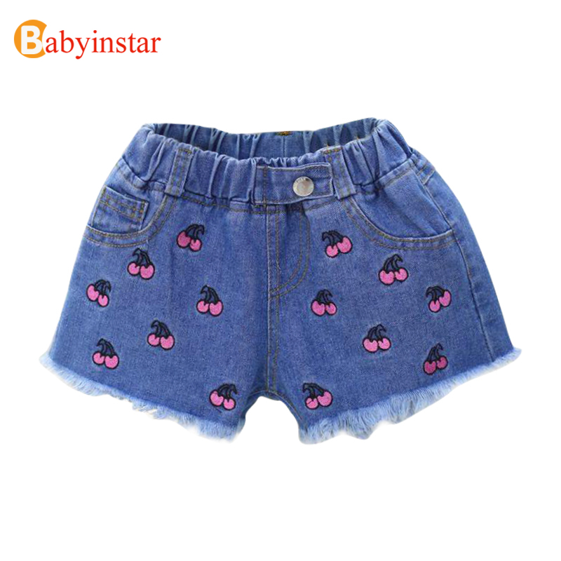 Babyinstar Summer Baby Girls Denim Shorts Kids Cowboy Shorts Children's Clothing Cherry Embroidery Jeans Baby Girl Shorts