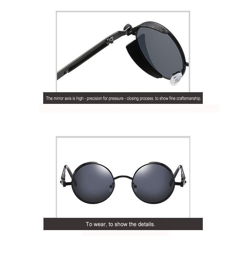 Classic Gothic Steampunk Sunglasses Sun Glasses Men Women Brand Designer  Vintage Round Glasses  Fashion Driving Goggle UV400 4