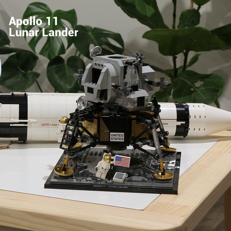 2020 créateur Expert Apollo 11 lune fusée spatiale lunaire Lander lepining Compatible 10266 blocs de construction jouets pour garçons enfant cadeau