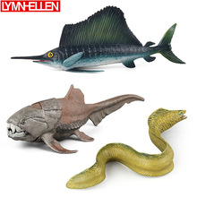 Simulation Solid Sea Life Dun Fish Eel Swordfish PVC Model Seabed Animals Home Decoration Action Figures Education Children Toys