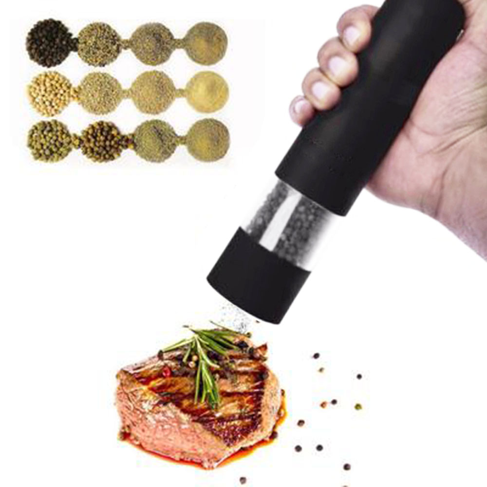New Electric Pepper Grinder Powerful Herb Container Non-manual Adjustable Ceramic Grinder Kitchen Outdoor Barbecue Equipment