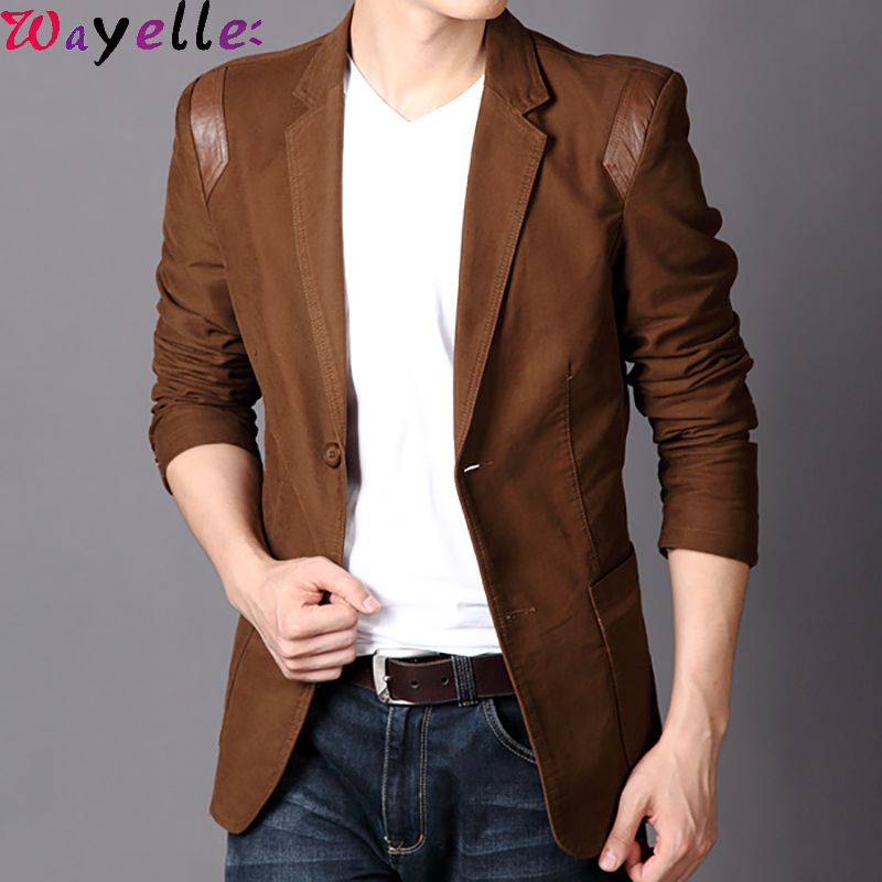 Men Blazer Jacket 2019 Autumn Winter Hot Casual Slim Fit Leather Patchwork Blazers Suit Men British Blazer Outwear Plus Size 6XL