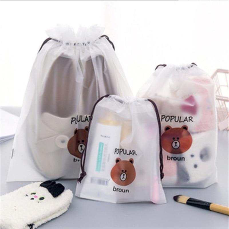 Travel Storage Bag PE Drawstring Bag Transparent Bag Rope Handle Bag Packing Bags Drawstring Bag
