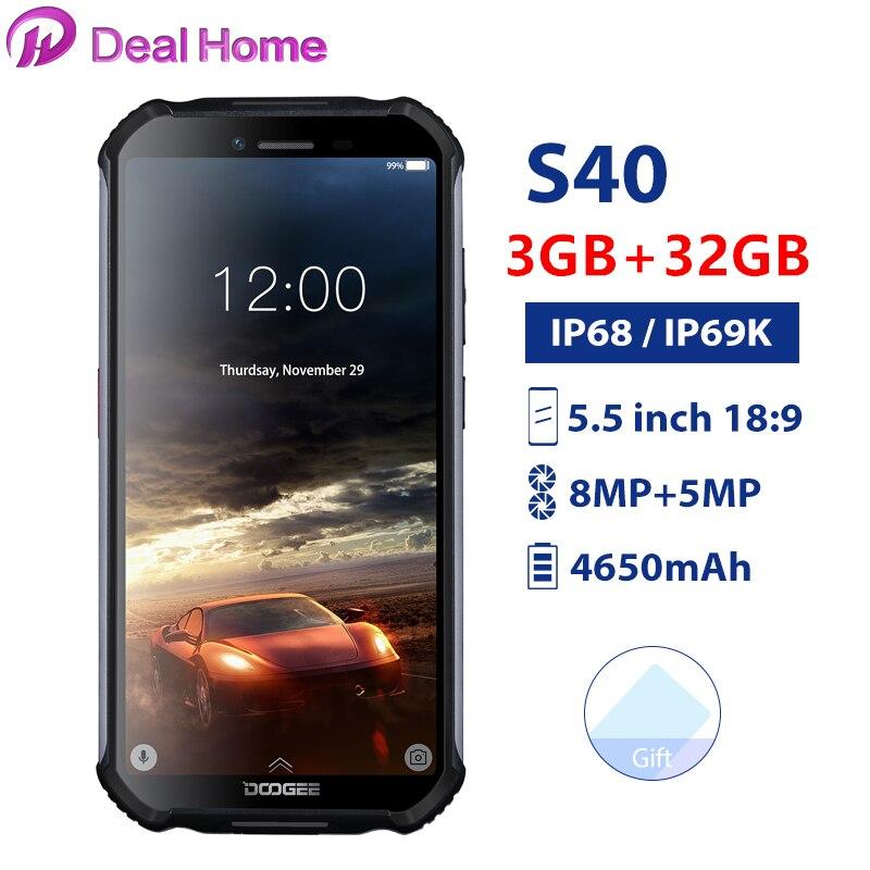 Doogee S40 5.5 écran étanche 3GB RAM 32GB ROM Smartphone MTK6739 Quad Core Android 9.0 4650mAh 8.0MP NFC 4G LTE téléphone portable