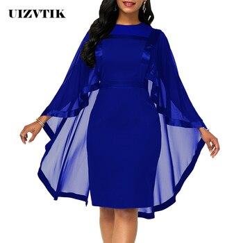 Summer Autumn Dress Women 2019 Casual Plus Size Slim Patchwork Mesh Office Bodycon Dresses Vintage Elegant Sexy Party Dresses 1