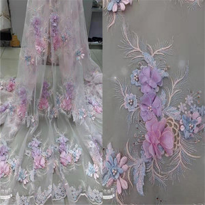 Image 2 - Luxury \ Hand applied 3D flower Embroidery French Mesh African Lace Fabric High end Dress, Wedding Dress, Evening Dress Design