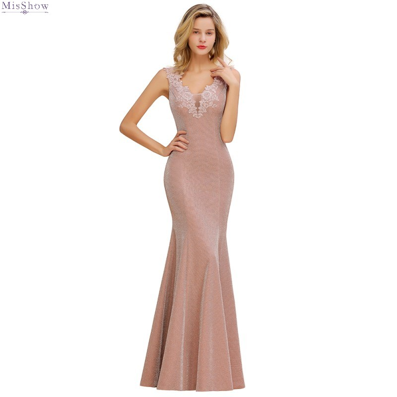 Pink Mermaid Long Evening Dress 2019 Elegant Lace Applique Formal Party Gown Sleeveless Robe De Soiree