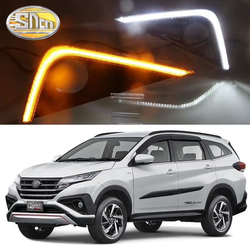SNCN LED Daytime Running Light For Toyota Rush 2018 2019 Car Accessories Waterproof ABS 12V DRL Fog Lamp Decoration