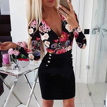Women Floral Print Dress Deep V-neck Long Sleeve Hip-wrapped Fashion Sexy Dress Party Wedding Summer And Autumn d88(China)