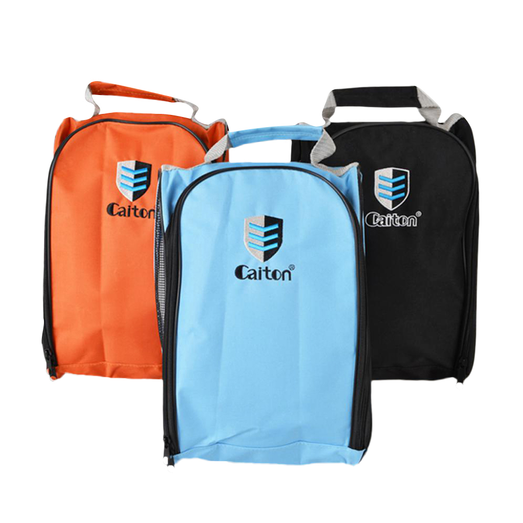 Premium Durable Polyester Heavy Duty Travel Shoes Carry Bag Golf Sneaker Boots Carrier & Shoe Brush Tool - Blue Orange Black