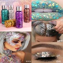 Holographic mermaid glitter eye shadow gel body liquid loose sequins cosmetic cream festival gem