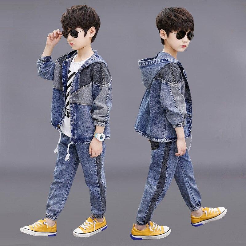 Neue Jeans Kinder Kleidung Set für Jungen Mode Mit Kapuze Denim Jacken und Hosen Herbst Kinder Cowboy Anzüge 10 12 Jahr outfits