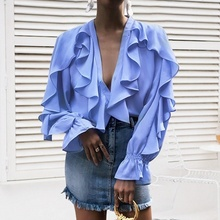 New Off Lady Ruffles Long Sleeve Shirt Womens Tops and Blouses Deep V Neck Flare Sleeve Chiffon Blouse Women Autumn Blusas