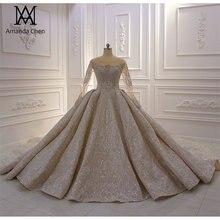 חתונה שמלות כלה 2020 מלא שרוול קריסטל ואגלי יוקרה חתונה שמלה