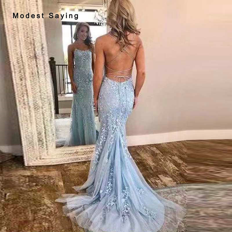 Sexy Backless Mermaid Lace Evening Dresses 2020 New Fashion With Straps  Light Blue Engagement Party Prom Gowns Robe De Soiree