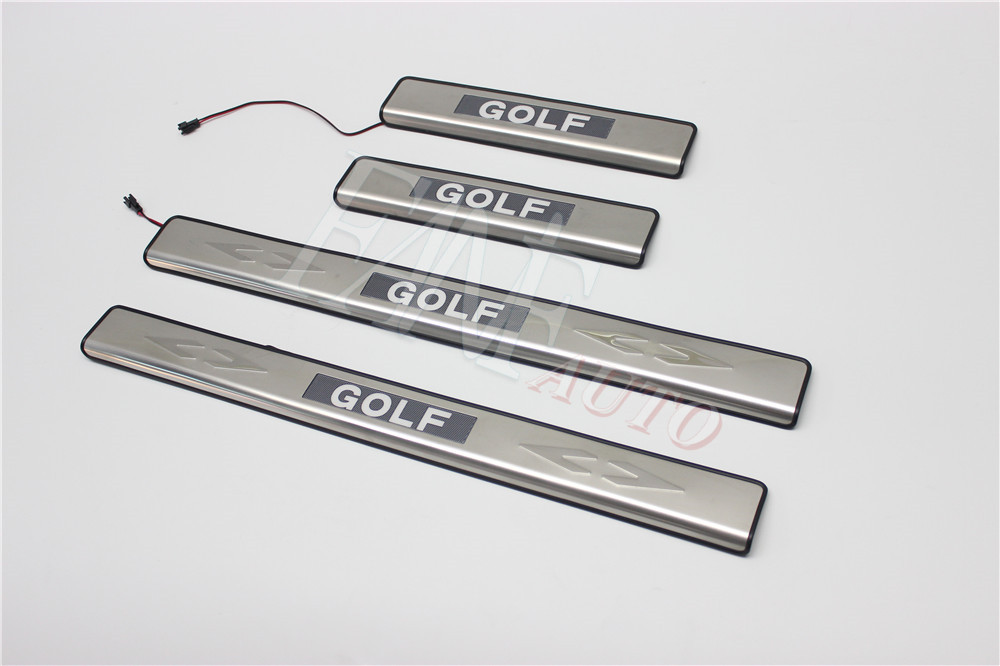 Stainless Steel <font><b>Led</b></font> Door Sill Scuff Plate Guard Sills Protector <font><b>Trim</b></font> For Volkswagen VW <font><b>Golf</b></font> 7 MK7 2012-2019 image