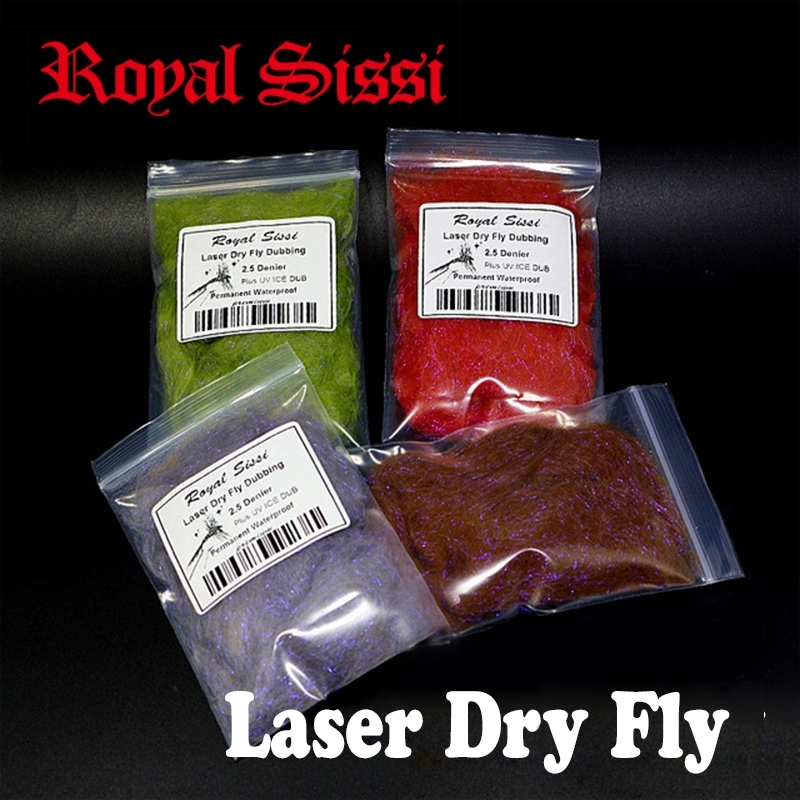 5bags Set Fly Tying Dry Fly Dubbing Plus UV Ice Dub 2.5D Laser Dry Fly Dub Permanent Waterproof Light Fiber Fly Tying Materials
