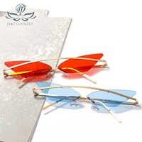 D&T 2020 Fashion Sunglasses Unisex Multicolor Small Triangle Sun Glasses Vintage Sexy Women Cateye Eyewear Frameless Sunglass