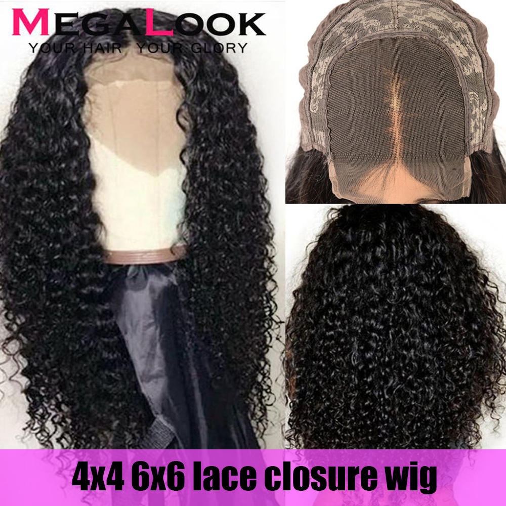 6x6 Closure Wig Human Hair Wigs Closure Wig Brazilian remy 180 Density 30 Inch Curly Wig Lace Front Human Wigs Lace Closure Wig