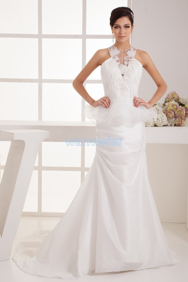 Free Shipping Hot Sale New Design Halter Appliques Custom Size/color Small Train Bridal Gown White Wedding Dress 2016 High Low