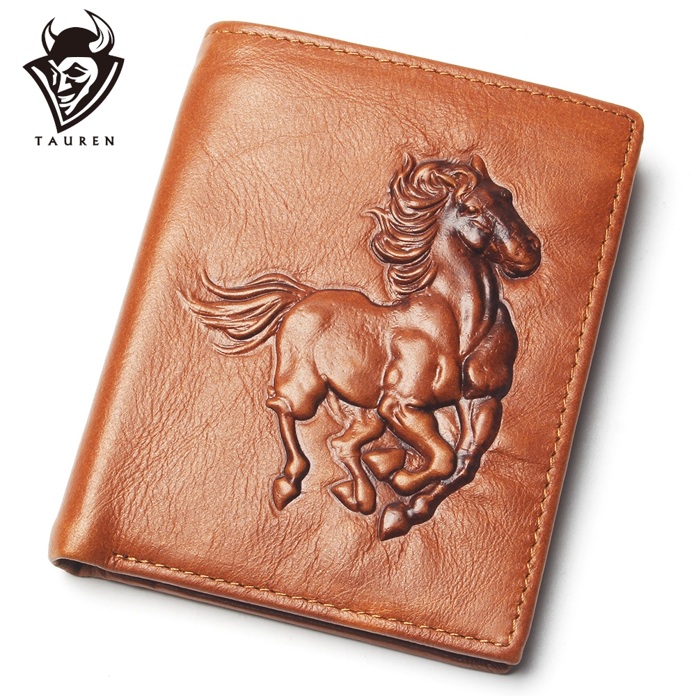 Men Fashion Embossed Horse Pattern Real Leather Wallet Men Thin Slim Card Holder Wallet Men's Bifold Purse