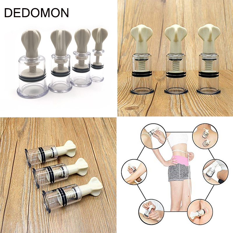4 Size Rotating Handle Vacuum Body Massage Cans Suction Enhancer Anti Cellulite Acupuncture Vacuum Cupping Cups Nipple Enlarger