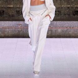 Primavera del 2020 delle nuove donne di alta vita pantaloni casual flangiatura tubo di fumo gamba larga pantaloni allentati pista delle donne di disegno abbigliamento