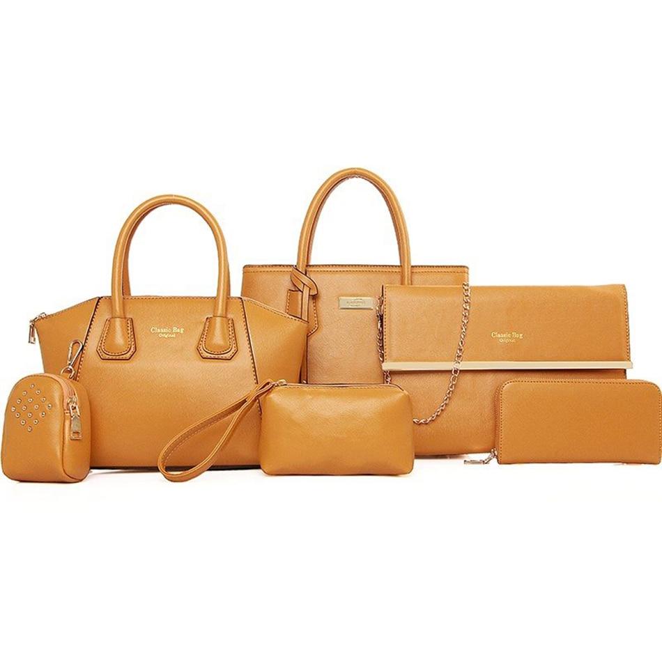 6pcs Bag Set For Women Leather Handbag Ladies Tote Shoulder Bag Chain Fashion Crossbody Bags For Women 2019 Purse Clutch Bolsos