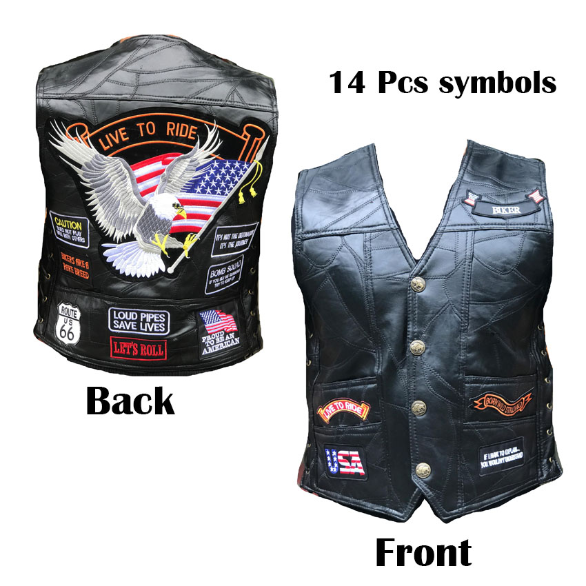 Moto Vest Genuine-Leather Waistcoat 14pcs Badges Sheepskin Symbol AA Retro-Style Embroidered title=